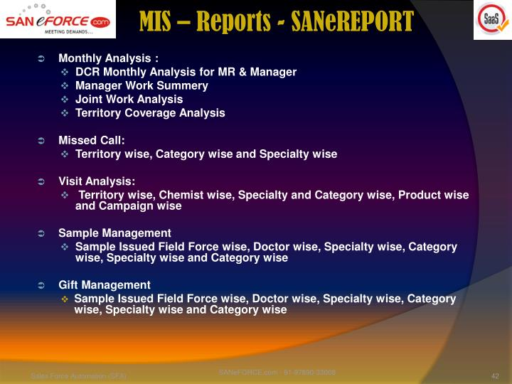 MIS – Reports - SANeREPORT