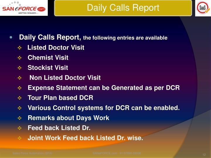 Daily Calls Report,