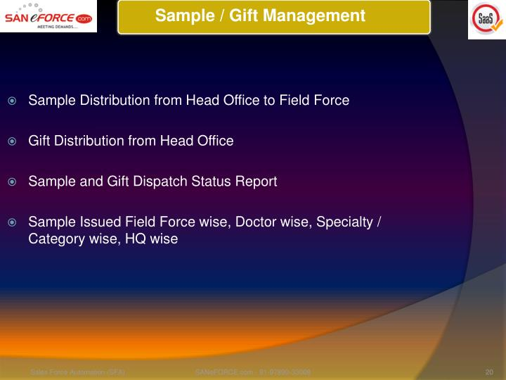 Sample / Gift Management