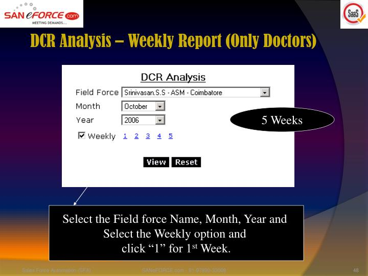 DCR Analysis – Weekly Report (Only Doctors)
