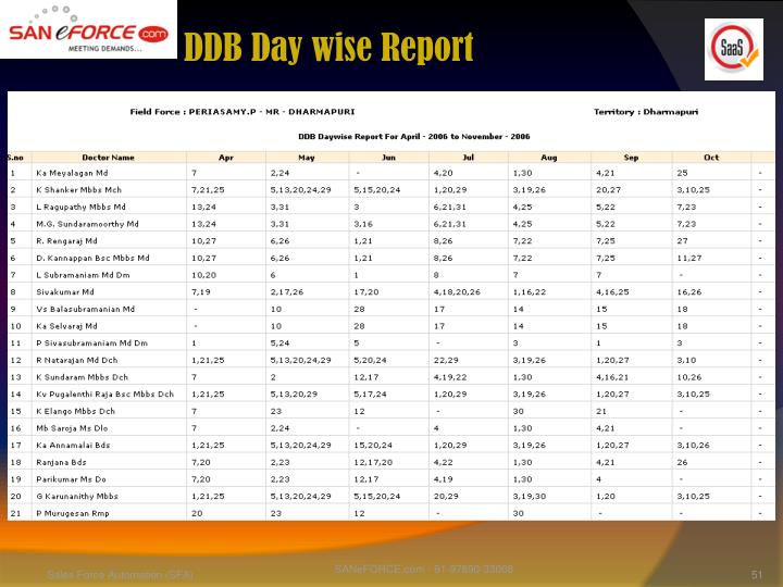 DDB Day wise Report
