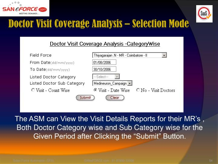 Doctor Visit Coverage Analysis – Selection Mode