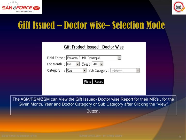 Gift Issued – Doctor wise– Selection Mode