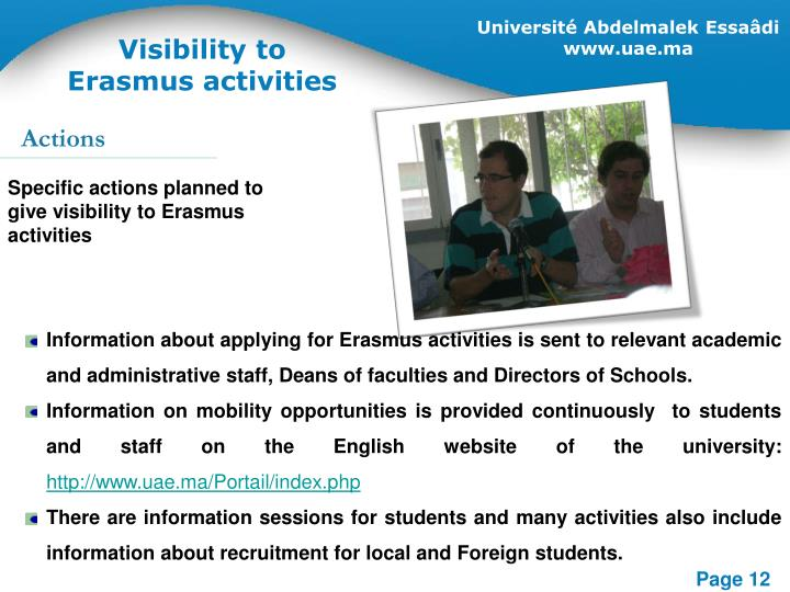 Visibility to Erasmus activities
