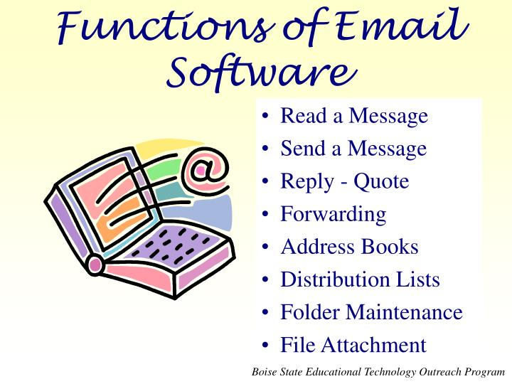Functions of email software
