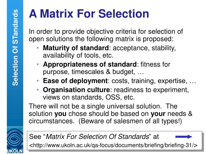 A Matrix For Selection