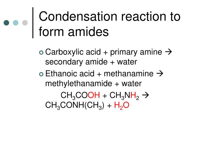 Condensation reaction to form amides
