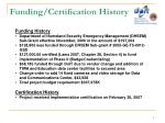 funding certification history