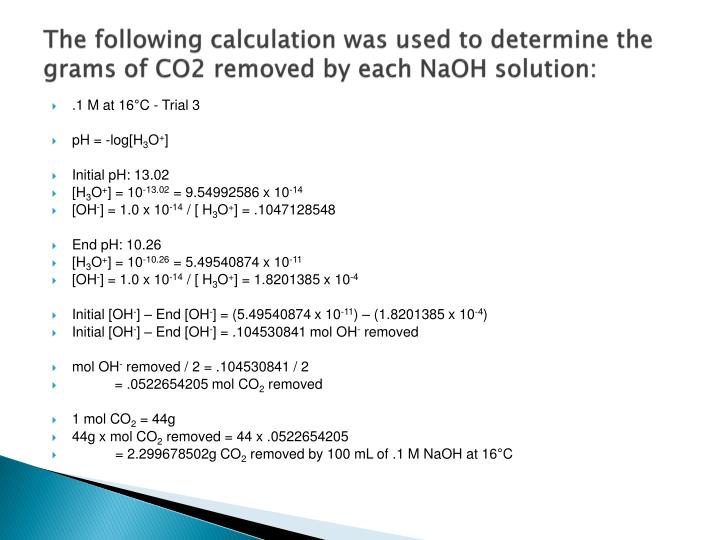 The following calculation was used to determine the grams of CO2 removed by each NaOH solution: