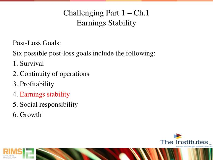 Challenging part 1 ch 1 earnings stability