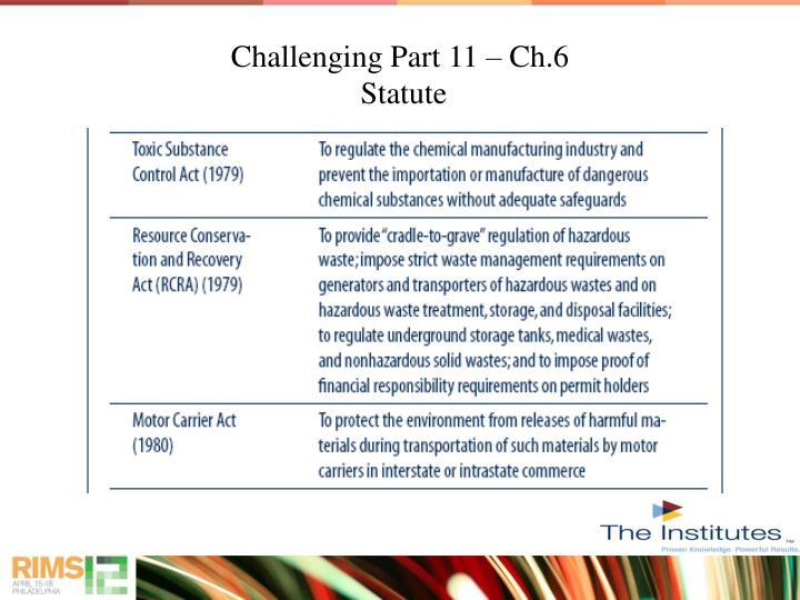 Challenging Part 11 – Ch.6