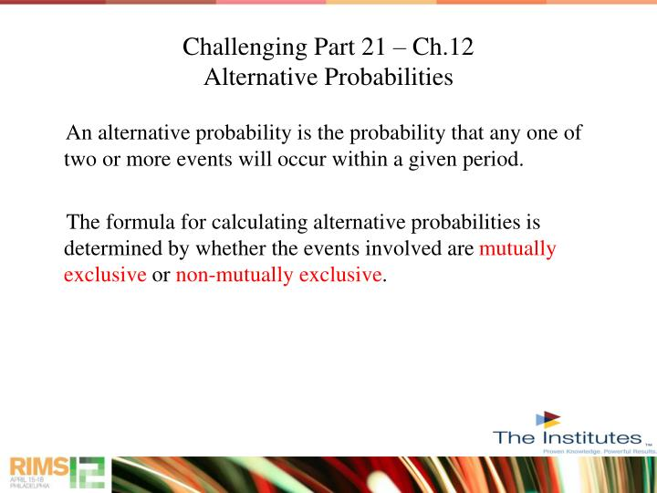 Challenging Part 21 – Ch.12