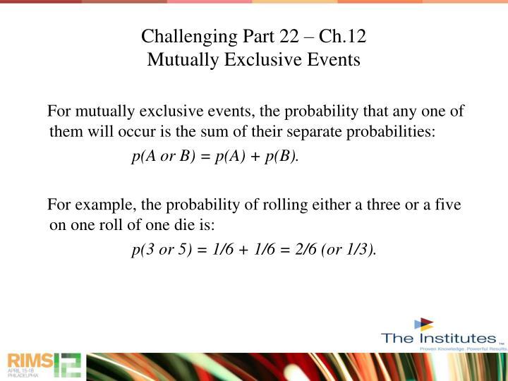 Challenging Part 22 – Ch.12