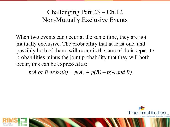 Challenging Part 23 – Ch.12