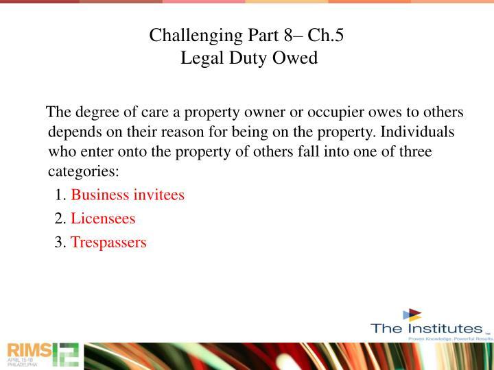 Challenging Part 8– Ch.5