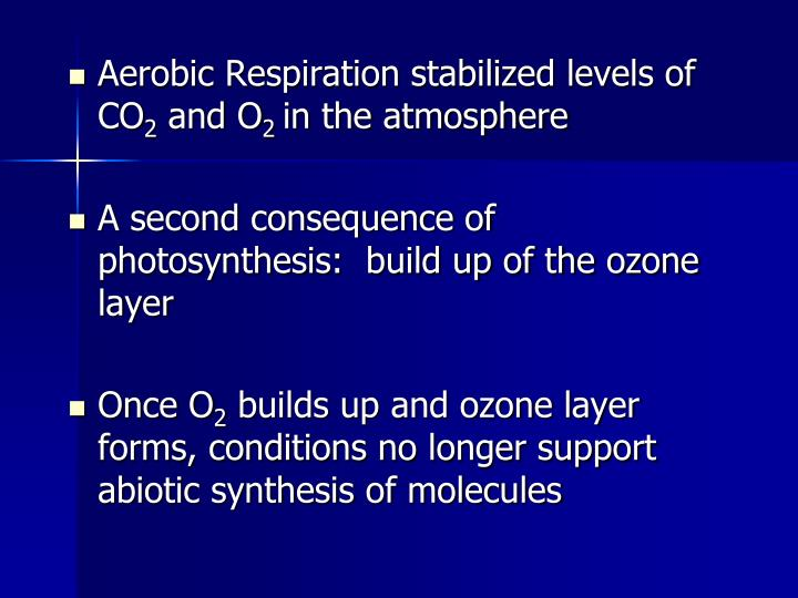 Aerobic Respiration stabilized levels of CO