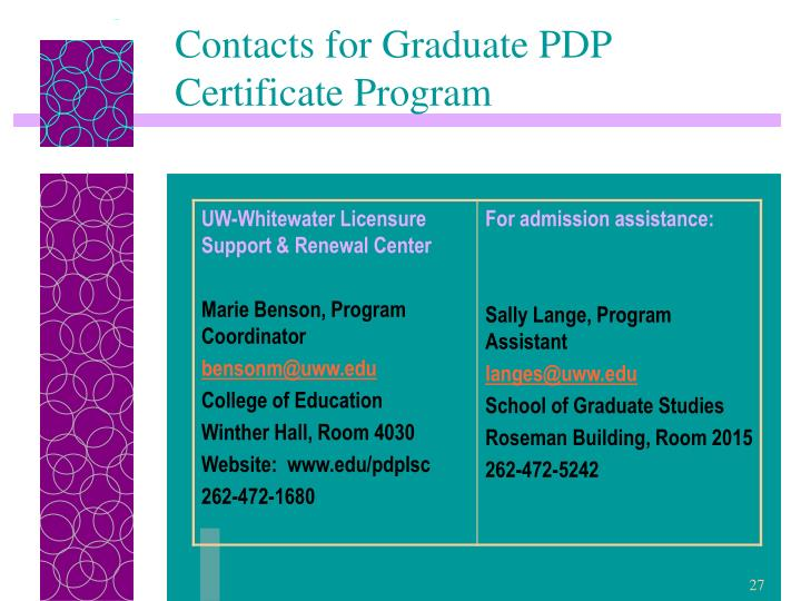 Contacts for Graduate PDP Certificate Program