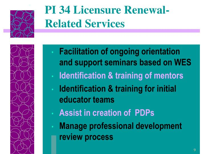 PI 34 Licensure Renewal-Related Services
