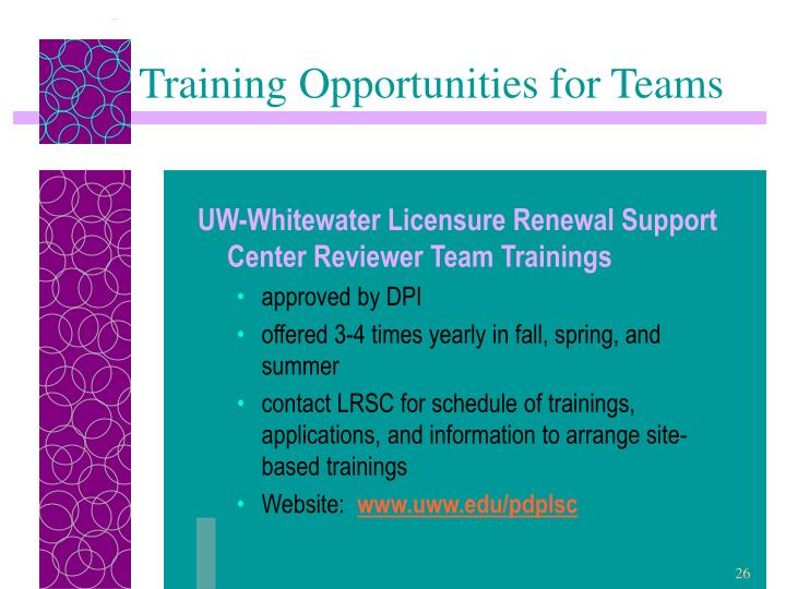 Training Opportunities for Teams
