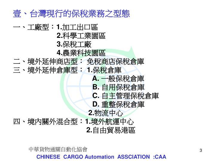 壹、台灣現行的保稅業務之型態