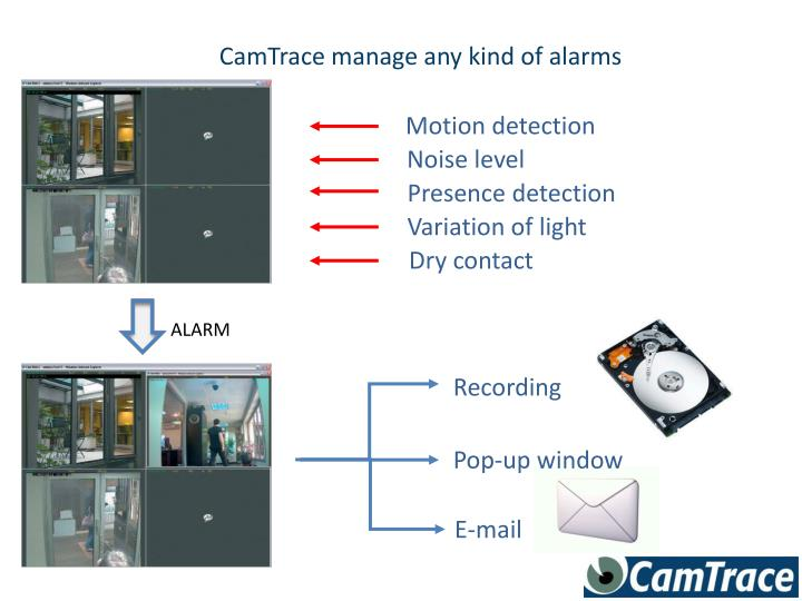 CamTrace manage any kind of alarms