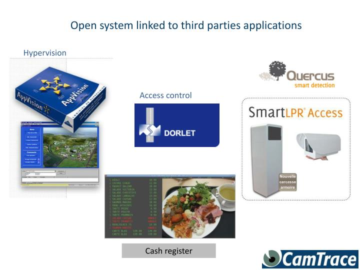 Open system linked to third parties applications