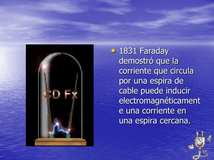 1831 Faraday demostró que la corriente que circula por una espira de cable puede inducir electromagnéticamente una corriente en una espira cercana.