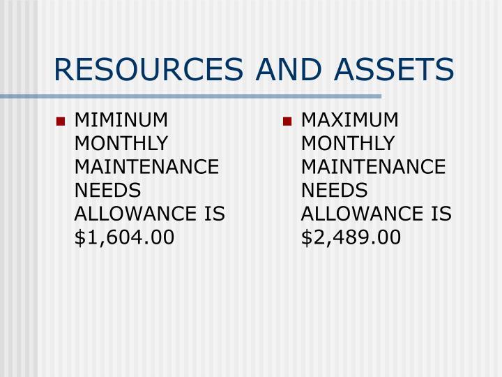 MIMINUM MONTHLY MAINTENANCE NEEDS ALLOWANCE IS $1,604.00