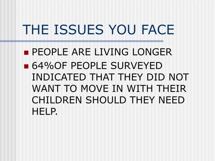 THE ISSUES YOU FACE