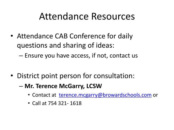 Attendance Resources