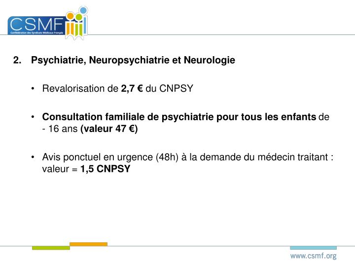 Psychiatrie, Neuropsychiatrie et Neurologie