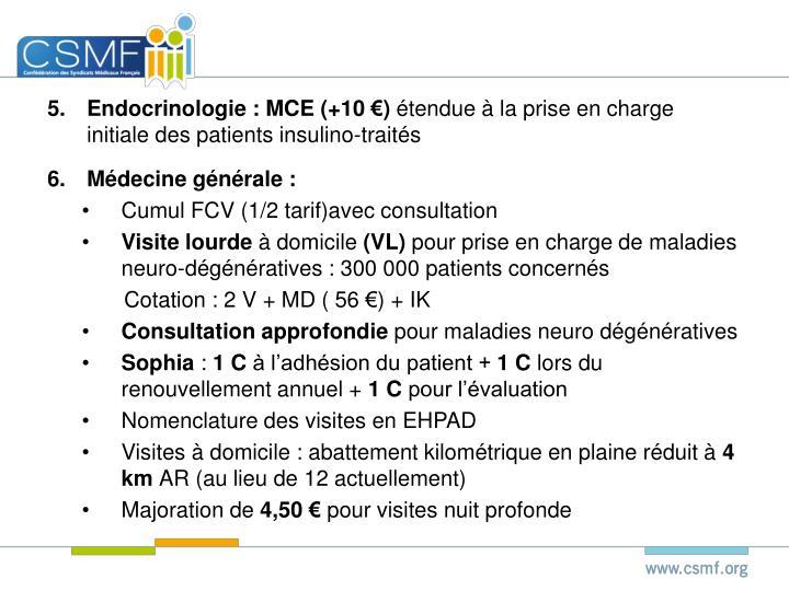 Endocrinologie : MCE (+10 €)