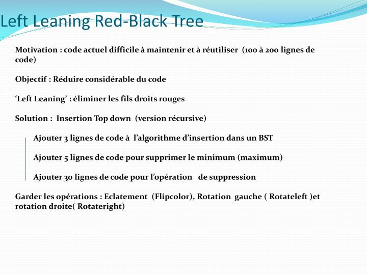 Left leaning red black tree