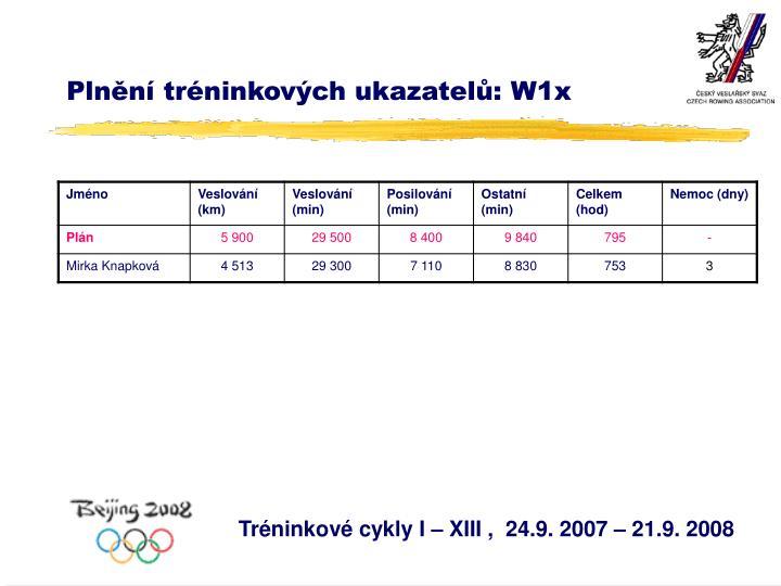 Plnění tréninkových ukazatelů: W1x