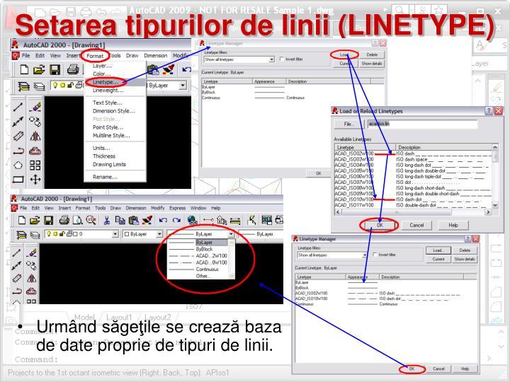 Setarea tipurilor de linii (LINETYPE)