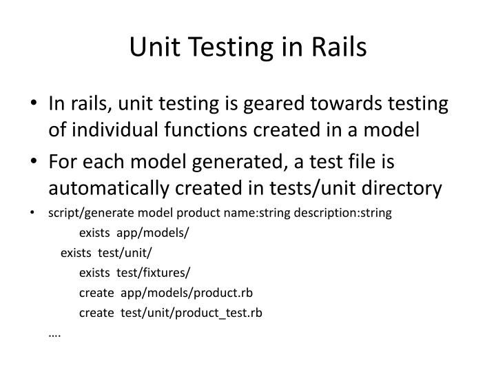 Unit Testing in Rails