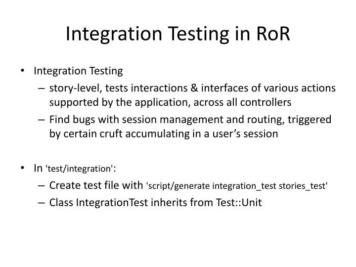 Integration Testing in RoR