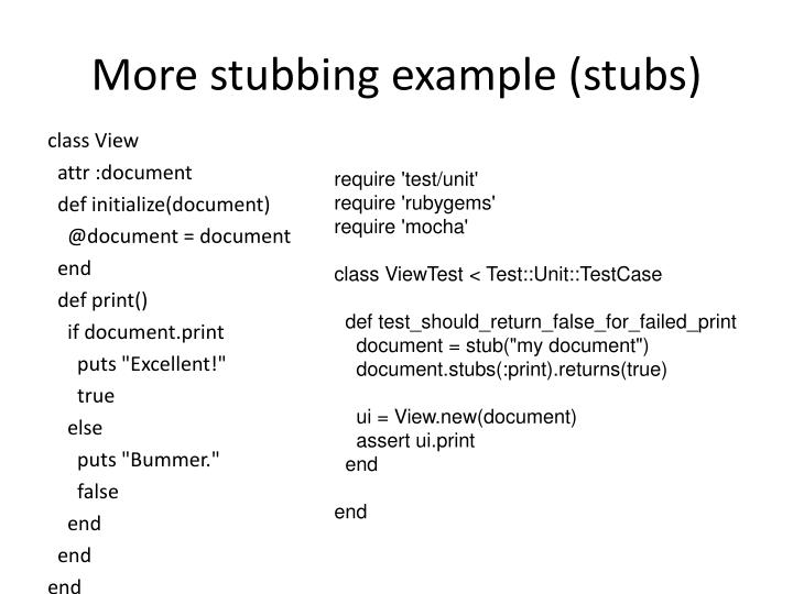 More stubbing example (stubs)