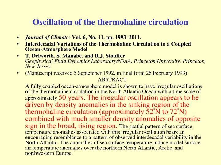 Oscillation of the thermohaline circulation