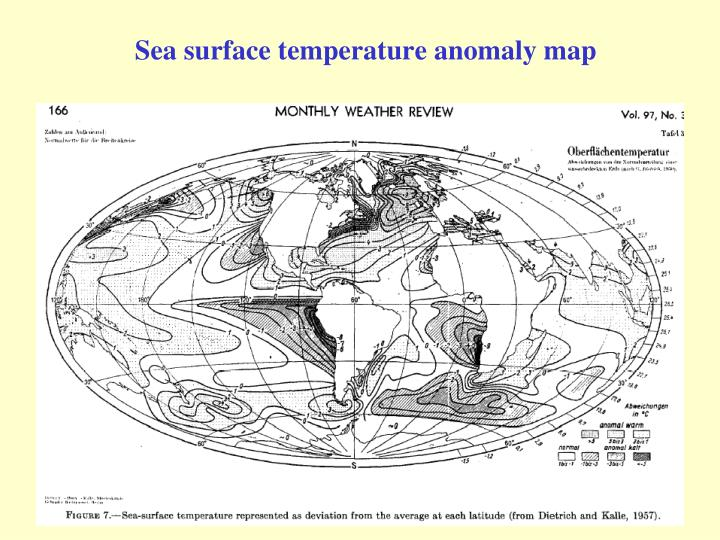 Sea surface temperature anomaly map