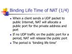 binding life time of nat 1 4
