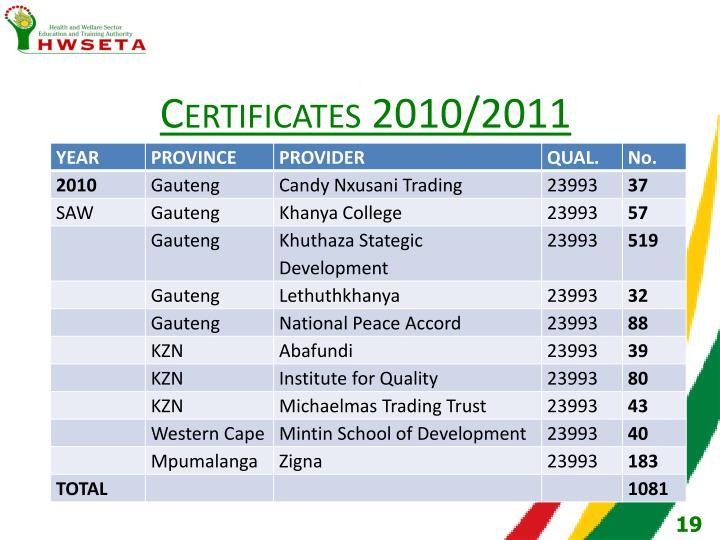 Certificates 2010/2011