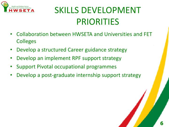 SKILLS DEVELOPMENT PRIORITIES