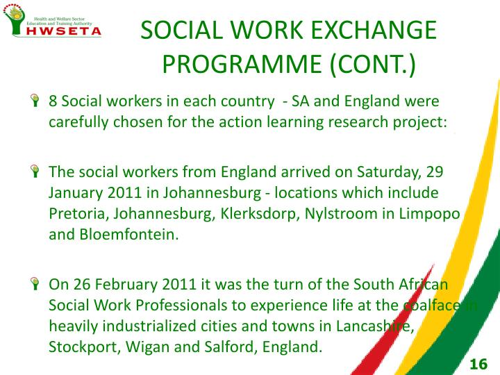 SOCIAL WORK EXCHANGE PROGRAMME (CONT.)