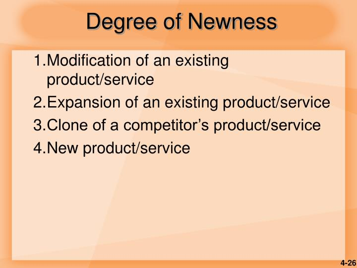 Degree of Newness