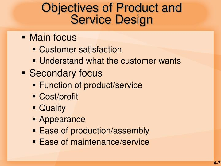 Objectives of Product and Service Design