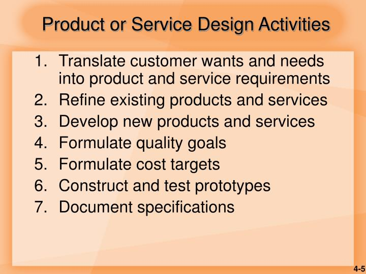 Product or Service Design Activities