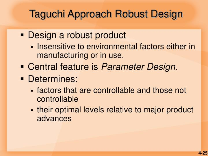 Taguchi Approach Robust Design