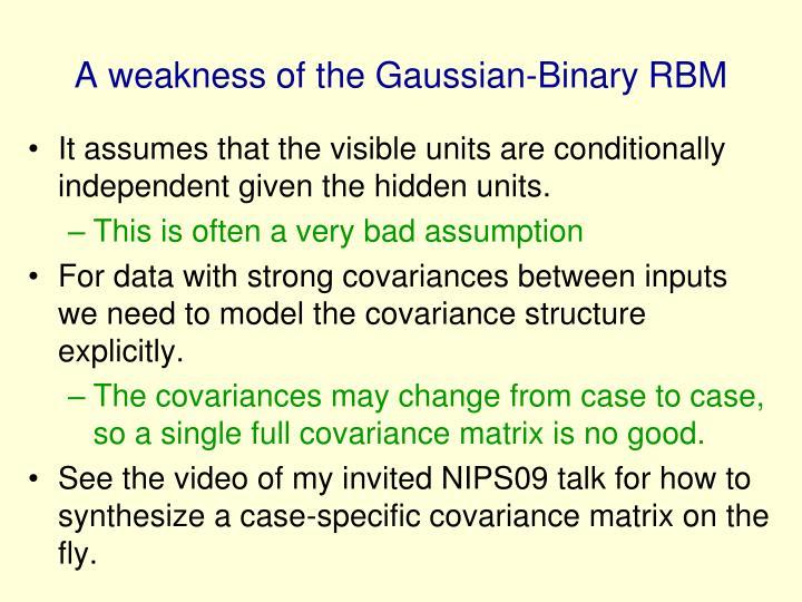 A weakness of the Gaussian-Binary RBM