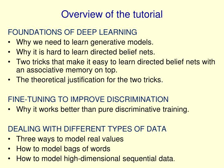 Overview of the tutorial
